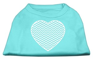 Chevron Heart Screen Print Dog Shirt Aqua Lg (14)